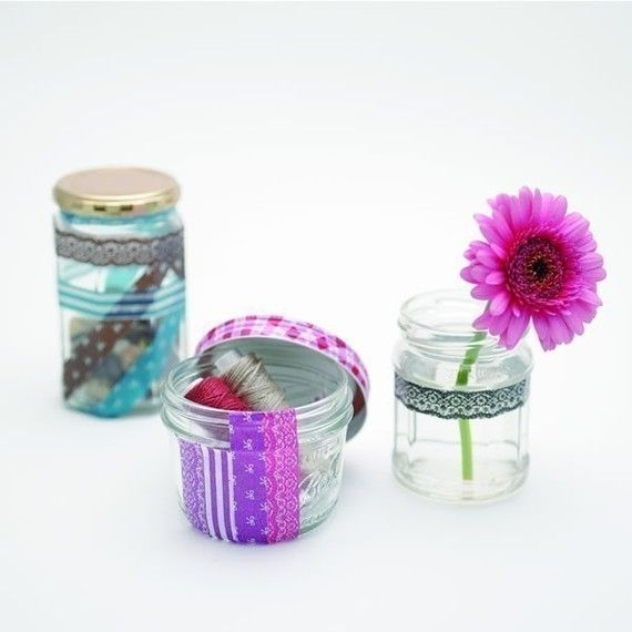 washi taped glass bottles (one on the right specifically, but with different, colorful tape)