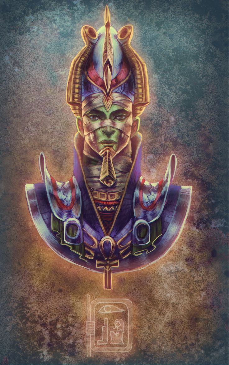 Osiris -  his skin is blue, the color of the dead; black, the color of the fertile earth; or green, representing resurrection