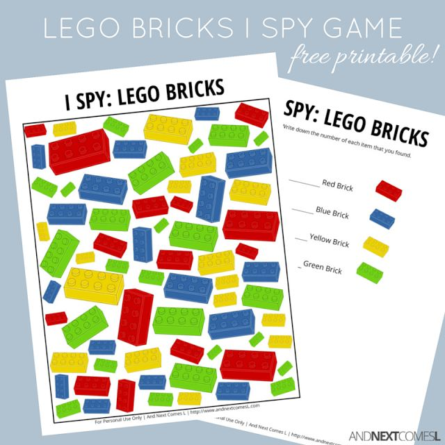 LEGO Bricks Themed I Spy Game {Free Printable for Kids} - great for color recognition and counting!