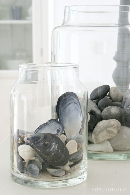 the art of displaying shells + beach stones