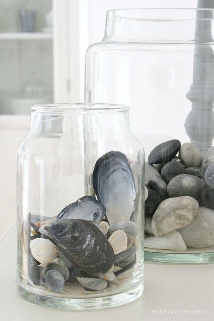 the art of displaying shells + beach stones