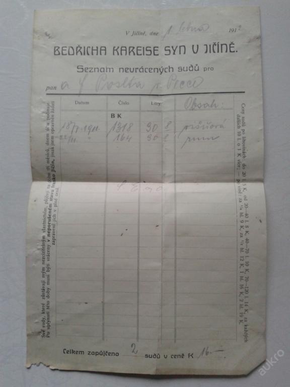 Seznam navrácených sudů (6318501698) - Aukro - největší obchodní portál