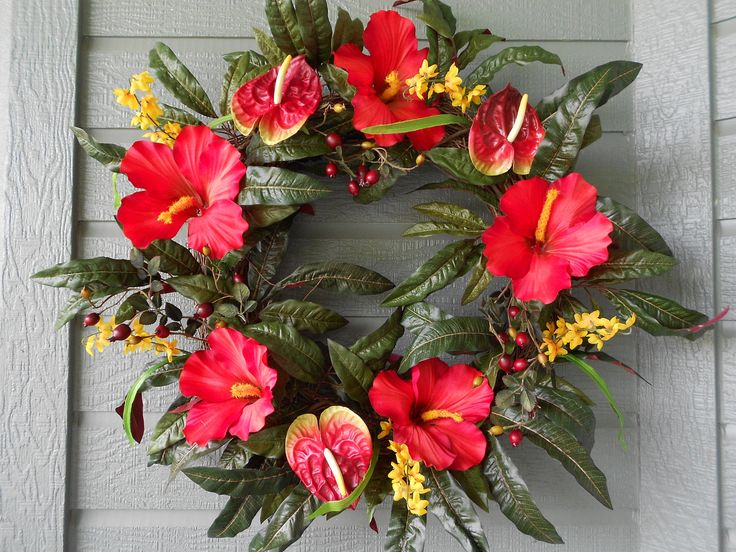 Great idea for a luah party....Tropical Wreath In Bright Red Hibiscus and Anthurium