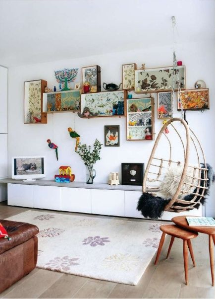 Boxes as shelves, lined with favorite papers or fabrics.