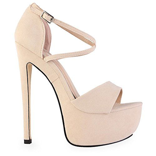 Damen Sandalette mit Riemchen - Peeptoe - Plateau & hoher Stiletto-Absatz - nude, beige - EUR 39 Perfect Me