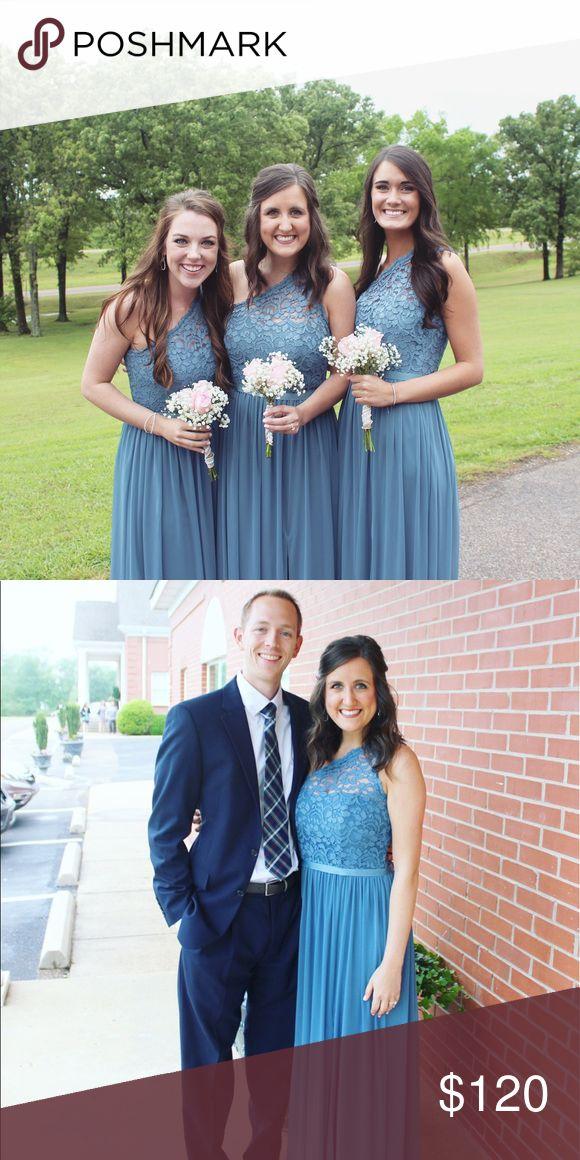 Steel blue davids bridal bridesmaids dress. Steel blue. Worn Once. David's Bridal Dresses Wedding