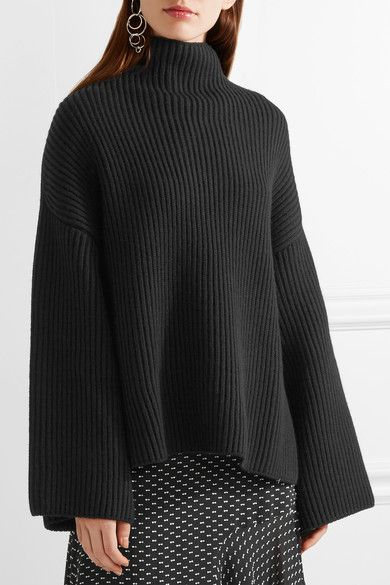 Rosetta Getty - Asymmetric Ribbed Wool And Cashmere-blend Turtleneck Sweater - Black - x small