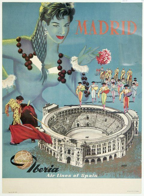 Madrid Iberia Airlines of Spain - Vintage Travel Poster