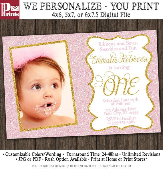 Pink and Gold Birthday Invitation Pink & Gold by PuggyPrints