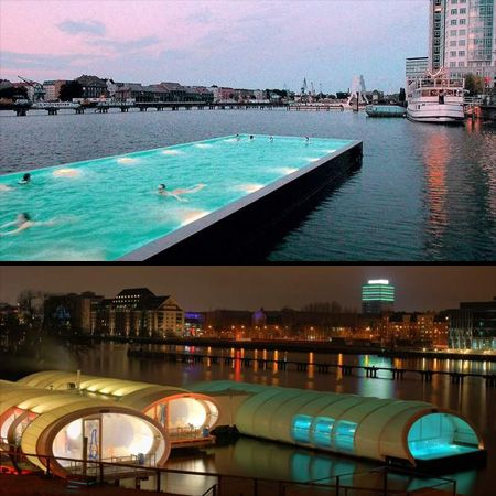 Badeschiff is an old barge or cargo container that has been converted into a public swimming pool in Berlin, Germany