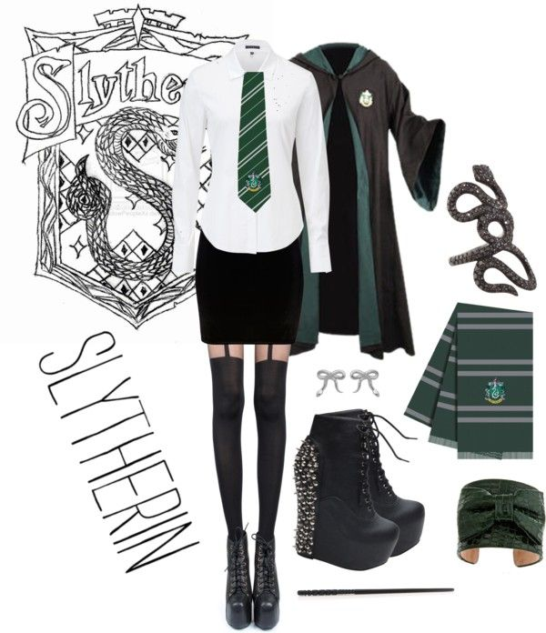 """Perfect <3 Maybe with a vest? """"Hogwarts Uniform- Slytherin"""" by neonballrooms on Polyvore"""