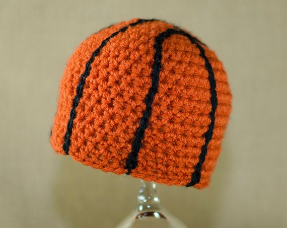 Crochet Basketball Hat by AdventuresInYarnia on Etsy, $17.00