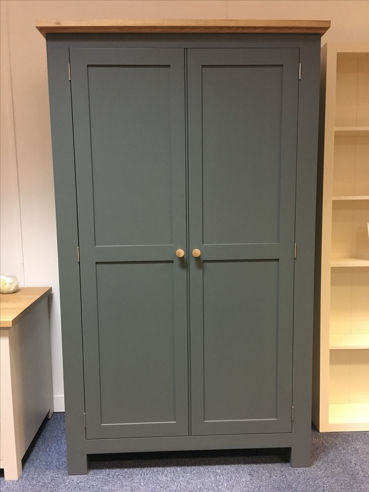 Shaker style kitchen larder cupboard in F&B Plummett. Come and visit our showroom in St Ives. Cobwebs Furniture Company.
