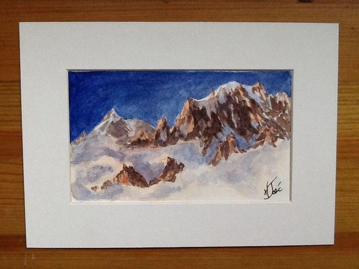 Original signed Watercolor painting by H. JOSÉ, Chamonix Mont-Blanc Sunset Dream
