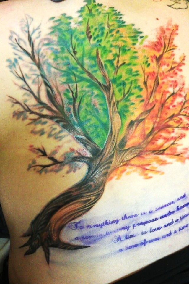 Tattoo Joes in Vacaville CA a tree with all the seasons ...