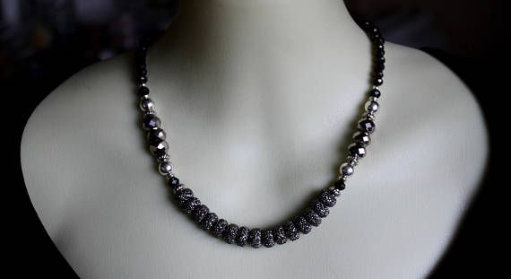 Black Grey Silver Beaded Crystal Statement Necklace Statement