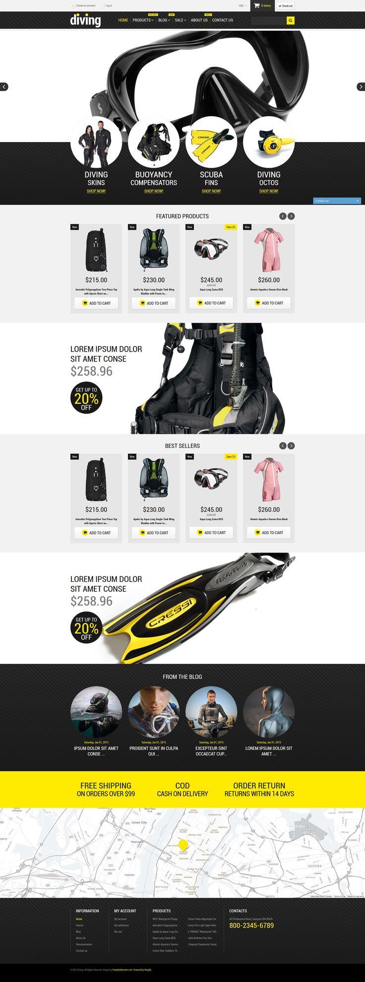 Shopify Theme , Diving Shop