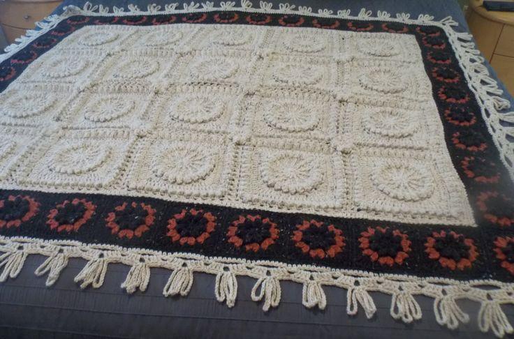 🌻 👱🏼 🌻 Girassol Crochê Afegão Cobertor de Lã pura Crochê -  /  🌻 👱🏼 🌻 Sunflower Crochet Afghan Blanket Pure Wool  Crocheted -