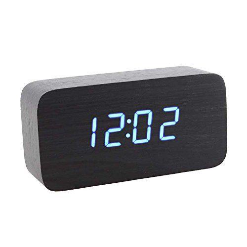 Baakyeek Horloge en bois Led Réveil digital en bois montre alarm (Bois Noir Avec Lumière Bleu)