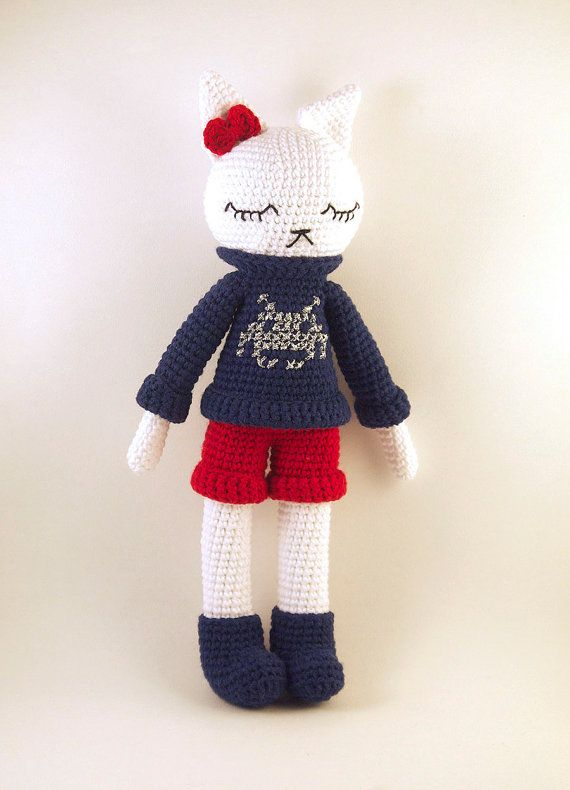 Awesome Etsy listing at https://www.etsy.com/pt/listing/227861964/amigurumi-crochet-doll-white-cat-with-a