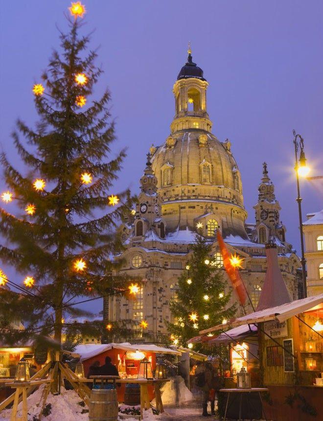 Christmas Market view in Dusseldorf, Germany.