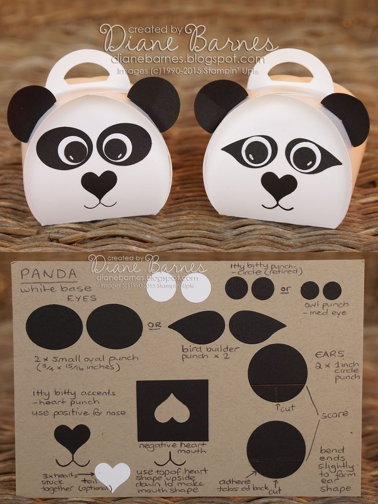 Cute panda box & instructions using Stampin Up curvy keepsake die & punches. By Di Barnes #colourmehappy