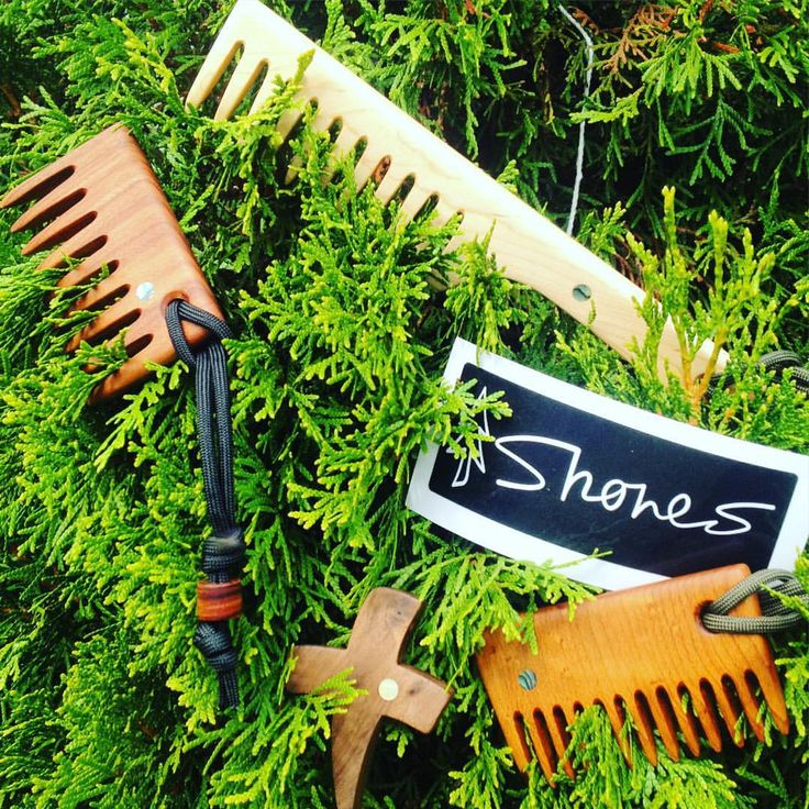 "Groomed By Nature on Instagram: ""GIVE TO NATURE WHAT CAME FROM NATURE!  Giving this tree a good combing are beautiful beard rakes/combs handmade by @shoneswoodshop ! Clockwise from left to right, standard beard rake, straight maple hair/beard rake for gents/ladies, roast quilt curly Birdseye for short beards, and walnut faith pendant. These unique pieces will be long gone by then but keep an eye out for similar products once our shop opens! Beard on and comb on!!"