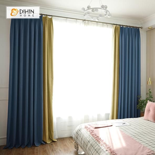 Dihin Home Blue Yellow Printed Blackout Grommet Window Curtain For Living Room 52x63 Inch 1 Panel Curtains Living Room Curtains Room