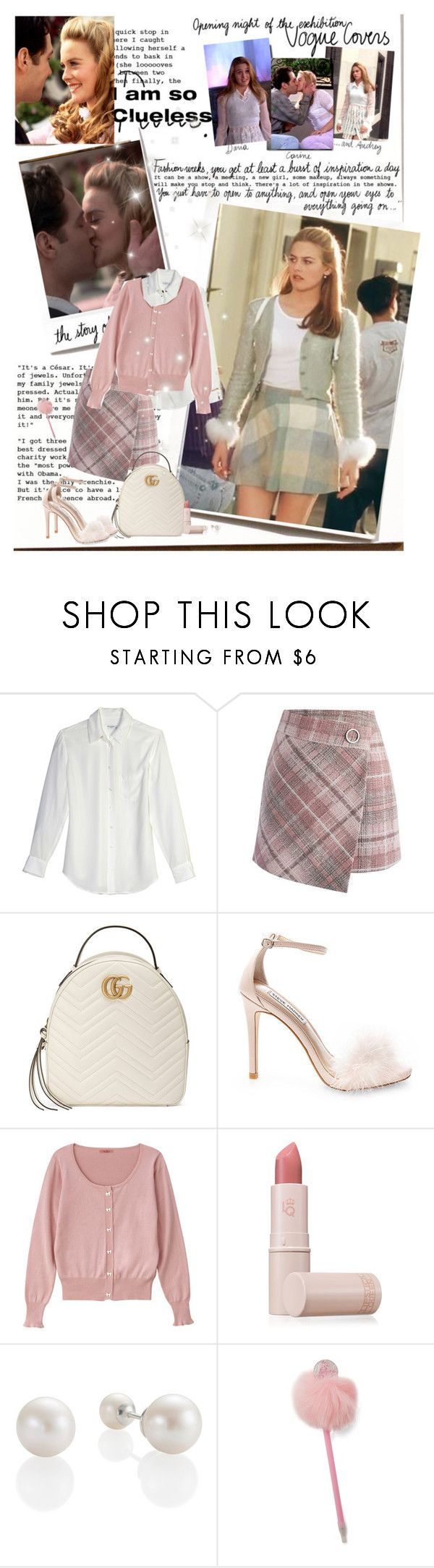 """""""I like Josh"""" by priscilla12 ❤ liked on Polyvore featuring Garance Doré, SilverStone, Equipment, Chicwish, Gucci, Steve Madden, Lipstick Queen, Forever 21 and clueless"""