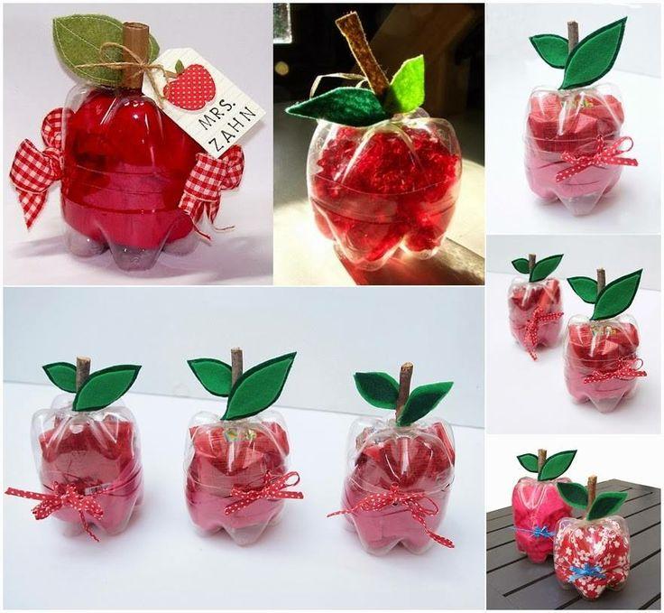 manzanas hechas de botella recicladas