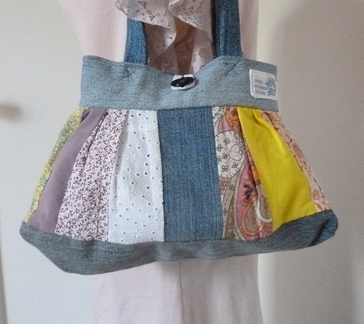Reserved for Angie Repurposed clothing denim purse, Patchwork bag, small purse, upcycled denim recycle purse. $19.00, via Etsy.
