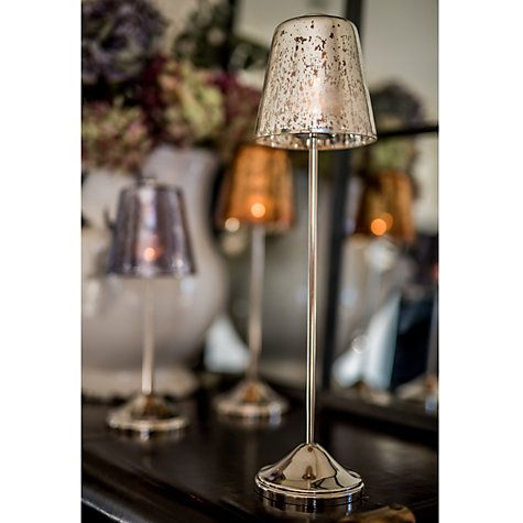 Buy Culinary Concepts Smoked Glass Tea Light Holder Large Lamp, Silver Online at johnlewis.com