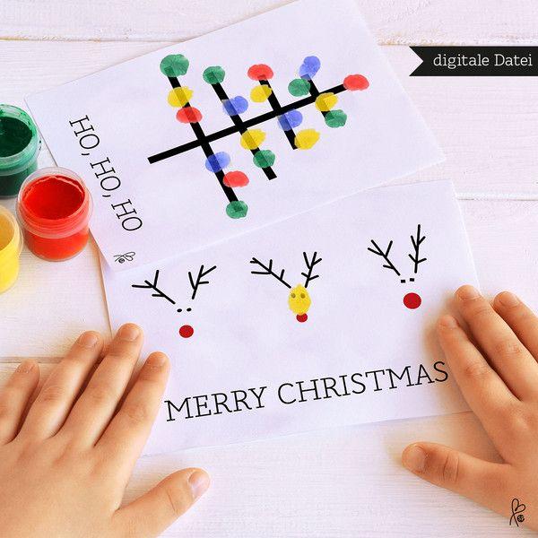 Weihnachtskarten - Fingerfarbe / Weihnachten / PRINTABLE / 3 Motive - ein Designerstück von sppiy bei DaWanda