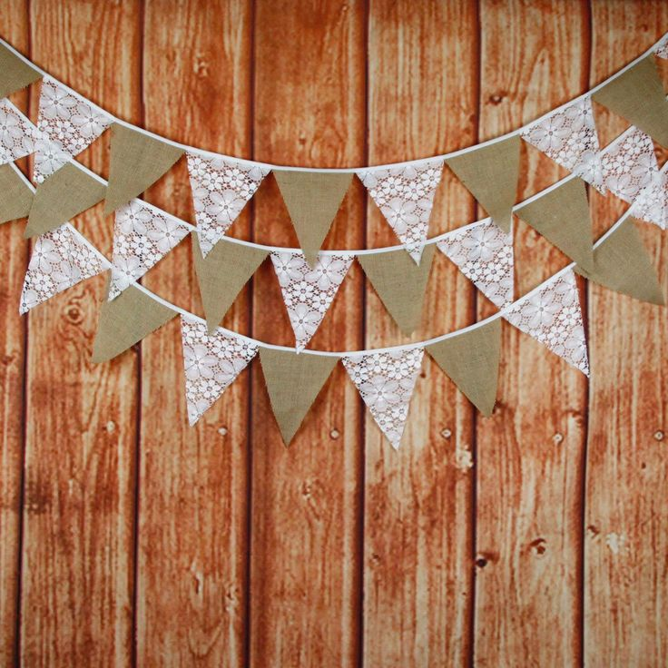 Bunting Hessian Burlap Elegant Lace Fabric Flag Banner Garland Photo Booth Props Photobooth Birthday Party Wedding Decoration