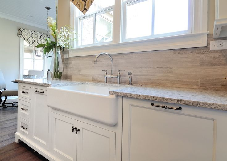 Country Kitchen With Apron Front Sink Porcelain Wood Look