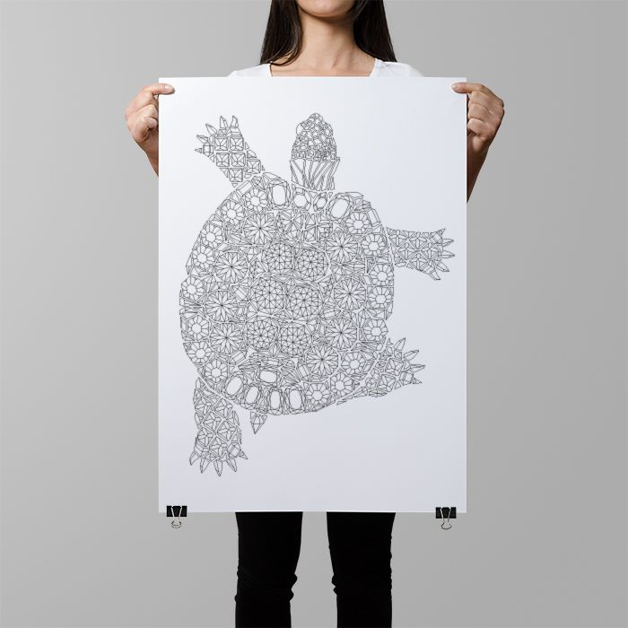 Wouldn't this turtle coloring poster make a great wall art, when colored in? The silhouette is created from gemstones and diamonds and the great amount of detail guaranteed hours of coloring fun :)