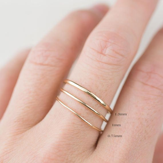 Gold trinity ring, dainty trinity rings, trio rings, hammered textured ring, simple stacking rings, 14k solid gold, rose gold, white gold