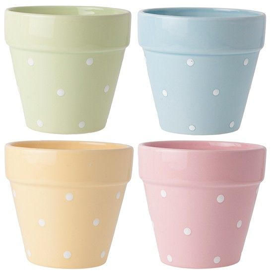 small polka dot ceramic plant pots by The Contemporary Home