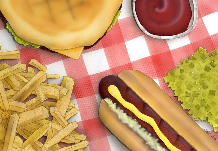 Hot dog / fries / Dart / illustration