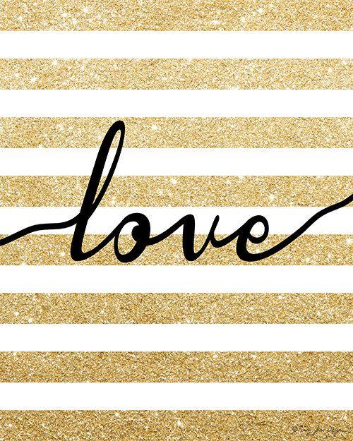 Gold Glitter Love Digital Printable Art by PennyJaneDesign