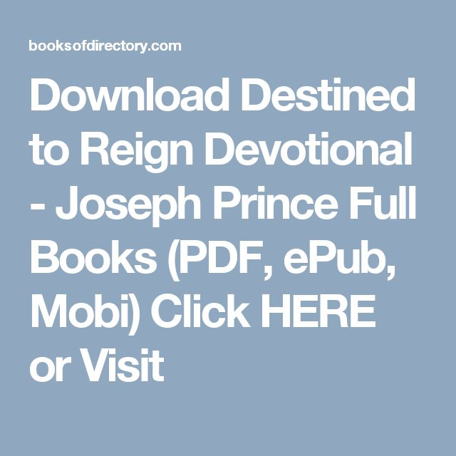 Download Destined to Reign Devotional - Joseph Prince Full Books (PDF, ePub, Mobi) Click HERE or Visit