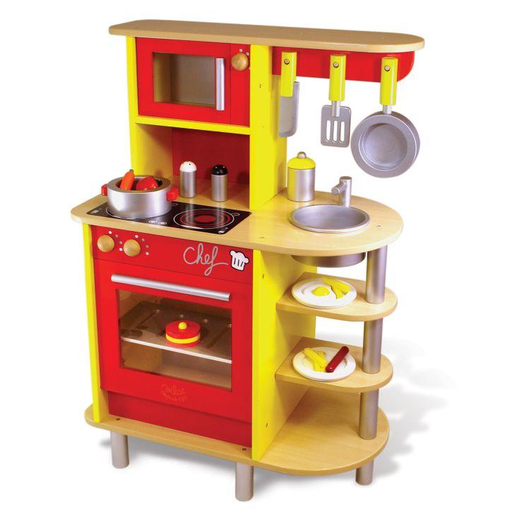 Chef, oui chef ! Les apprentis cuisto vont s'en donner à coeur joie avec cette jolie cuisine en bois