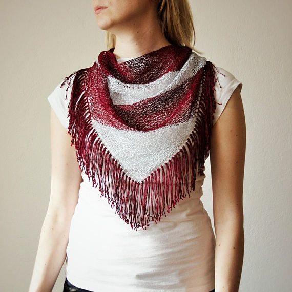 Red Wine Silver Hand Knitted Triangle Scarf / by RUKAMIshop