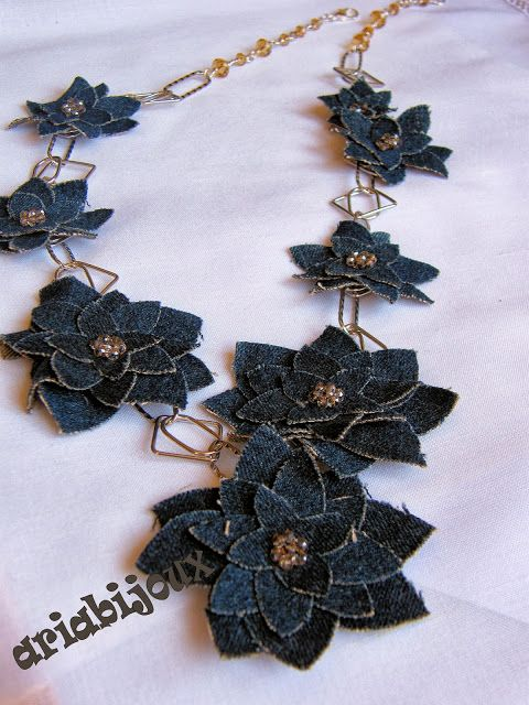 DENIM FLOWERS - handmade artisan  fiber, textile, fabric jewelry