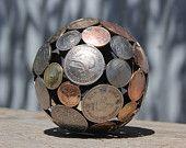 Mini mixed penny ball 2, Penny sphere, Metal sculpture ornament. $55.00, via Etsy.