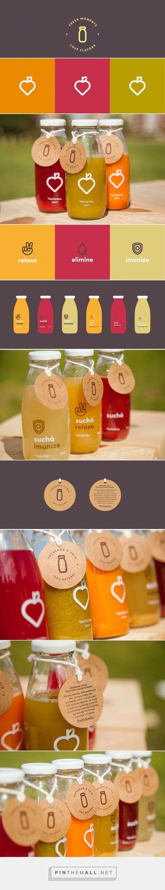 Sucos e Suchás Hortalícia on Behance curated by Packaging Diva PD.  Juices and tea are 100 % natural. made without addition of water, sugar or preservatives. To showcase these attributes, packaging uses a minimalistic and transparent, giving prominence to the juice and pointing out the ingredients that compose it.: