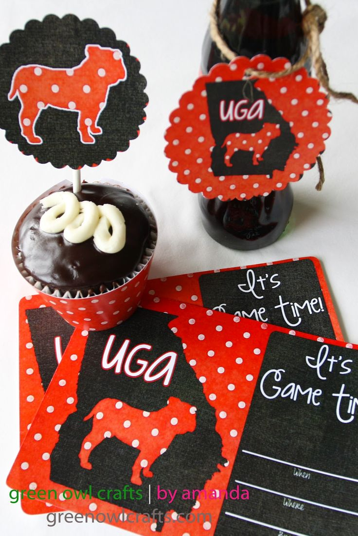 green owl crafts: College Football Freebies: Printable Party Packs #uga #bulldogs #georgia