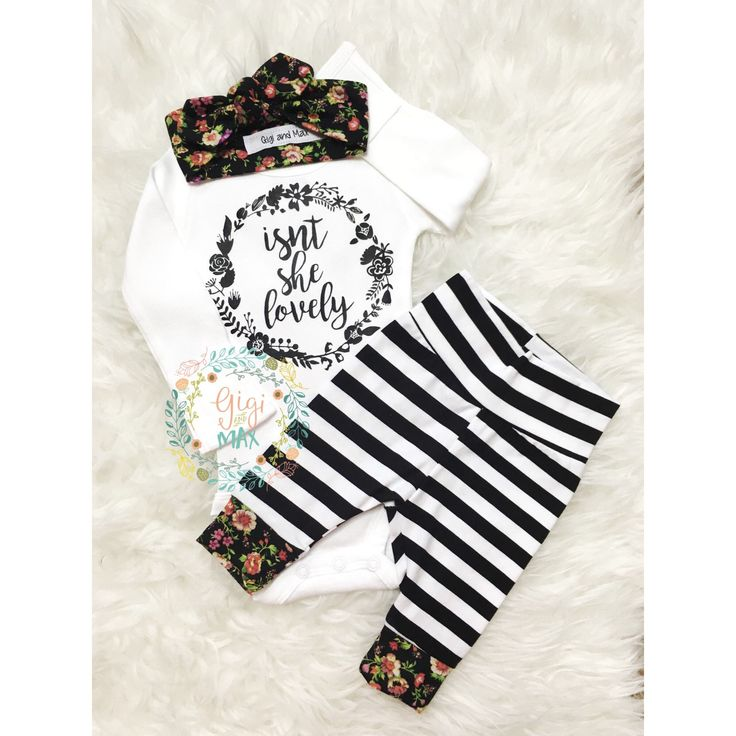 Should arruve Monday!! Our baby girls coming home outfit!  New Floral Isn't she Lovely Floral and Stripe Newborn Outfit