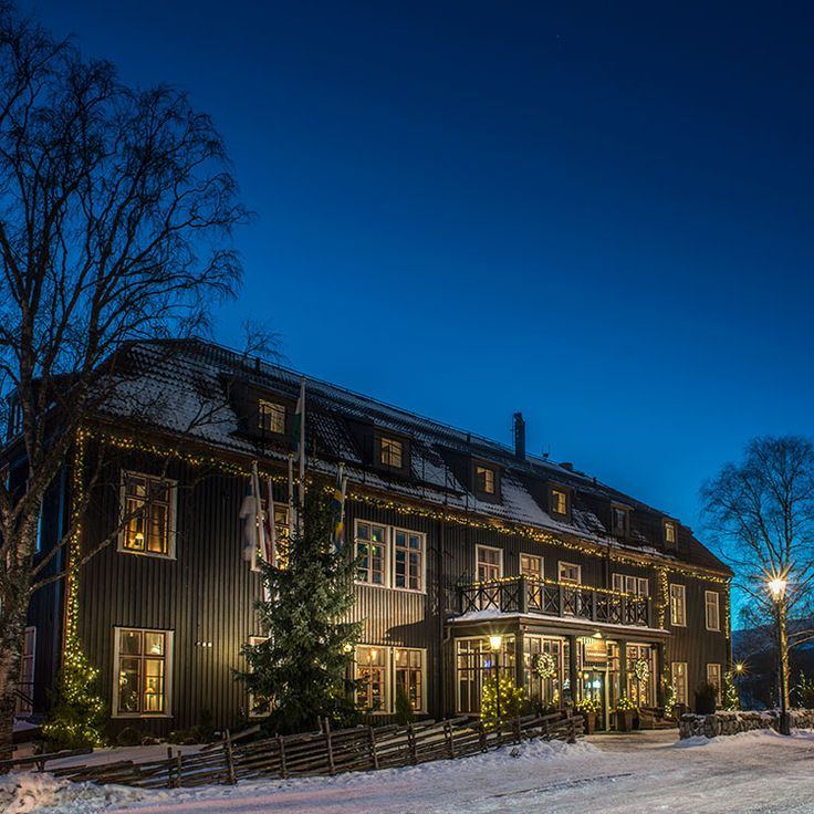 The hotel at a winter evening