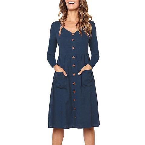 Autumn Winter 2018 Button Pockets Midi Shirt Dress Women Long Sleeve Sexy  V-Neck Casual A-Line Linen Party Dress Beach Sundress be8561f10804